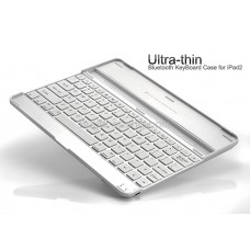 Ultra thin Bluetooth KeyBoard Case for iPad 2 - Silver