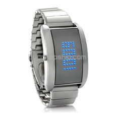 Metal Alloy LED Watch with Scrolling Text - Blue Fiction