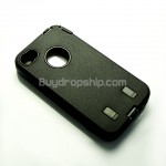 Robot Plastic Hard Back Case Skin for iPhone 4 4G Black