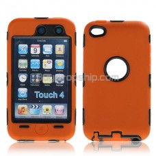 Combo Silicone Hard Case Cover for iPod Touch 4 - Orange