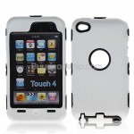 Combo Silicone Hard Case Cover for iPod Touch 4 - White