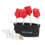 Rose Pattern High Speed 4 Ports USB2.0 Hub