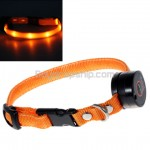 Nylon Ribbon Neck Collar Orange LED Flash Light for Pet Dog