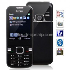 TV 6700 Quad Band 2-Sim TV FM Cell Phone - Black