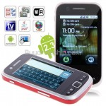F603 Quad Band 2-Sim Android 2.3 Wifi GPS TV Smart Phone RED