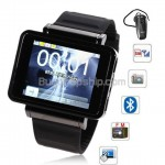 K1 Quad Band FM Bluetooth Touch Screen Watch Phone - Black