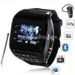 Q6 Quad Band Bluetooth FM Touch Screen Watch Phone - Black