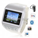Q5 Quad Band Bluetooth FM Touch Screen Watch Phone - White