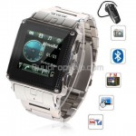 Quad Band Bluetooth FM Touch Screen Watch Phone W818 Silver
