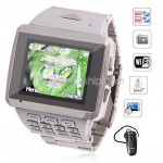 X8 Quad Band 2-Sim Wifi JAVA Touch Screen Watch Phone Silver