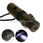 Multi-function Thermometer and Compass Whistle - LED Torch