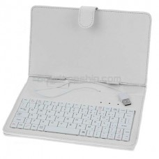 USB 80-Key Keyboard Leather Case with Stylus for 7 inch Tablet PC - White