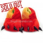 Animal Paws Style Plush Shoes Red&Yellow - Indoor Slippers
