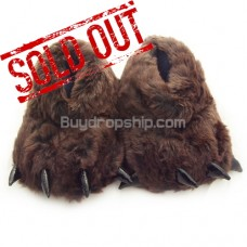 Cute Animal Paws Plush Deep Coffee Color - Indoor Slippers