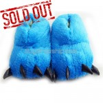 Universal Animal Paws Design Plush - Indoor Slippers Blue