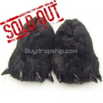 Black Universal Animal Paws Design Plush - Indoor Slippers