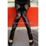 Lady Fashion Irregular Lace PU Spandex Leggings Pants Black