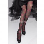 Lady Pantyhose Stockings with Red Lip Printed - Black Color