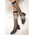 Lady Stripe Pattern 20D Sheer Socks - Black