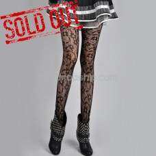 Fashion Flower Lace Leggings Stockings Pantyhose - Black