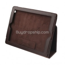 Lichee Pattern Tobago Leather Case For iPad 2 - Brown Color
