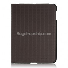 Protective PU Leather Case with Stand Holder for iPad2 Brown