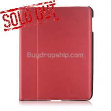 Slim Protective PU Leather Case with Stand Holder for iPad2 RED