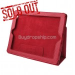 New Red Leather Flip Case With Stand For iPad 2