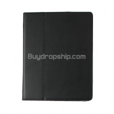 New Black Leather Flip Case With Stand For iPad 2