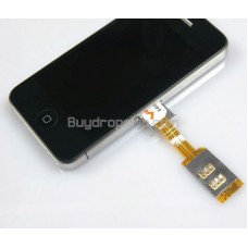 Dual SIM Card Adapter with Back Case Black for iPhone 4