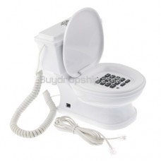 Unique Fancy Flush Toilet Shaped wired Telephone - White