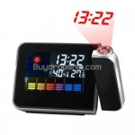 Multi-Function Weather Station Projection Alarm Clock Black