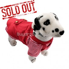 Vest Style Pullover Coat with Stripe Pattern for Dog RED