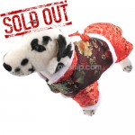 New Tang Suit Style Dress for Dog Pet - Red Color