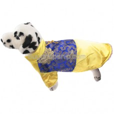 Tang Suit Style Dress for Pet Dog - Yellow & Blue Colors