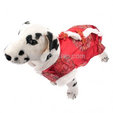Cute Tang Suit Style Dress Red Color for Pet Dog