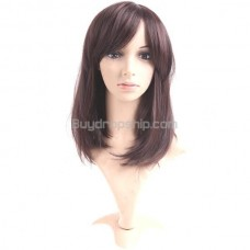 Synthetic Capless Shoulder Length Wigs Swept Bangs Hairpiece
