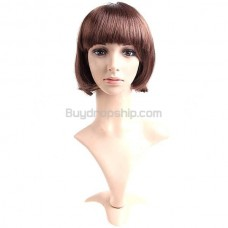 Synthetic Capless Short Straight Wigs Full Bangs Hairpiece