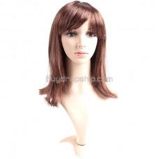 Synthetic Capless Natural Straight Wig Swept Bangs Hairpiece