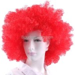 Synthetic Red Funky Unisex Short Curly Clown Wigs for Fun