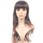 Natural Long Wavy Curly Wigs with Full Bangs Hairpieces