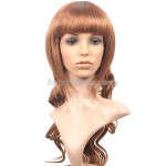 Synthetic Natural Long Wavy Wigs with Full Bang Hairpieces