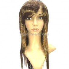 Long Synthetic Straight Hair Hairpiece Wig Tilted Bang Style