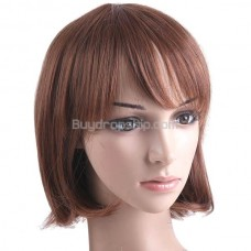 BOB Short Synthetic Hair with Thick Flat Bang Wigs Hairpiece