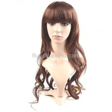 Synthetic Natural Long Wavy Curly Wigs Full Bangs Hairpieces