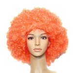 Synthetic Orange Funky Unisex Short Costume Wigs Hairpieces