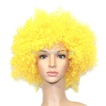 Synthetic Yellow Funky Unisex Short Costume Wigs Hairpieces