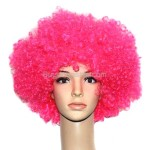 Synthetic Hot Pink Funky Unisex Short Costume Wigs Hairpiece