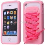 Sporty Pink Shoe Silicone Skin Case for iPhone 4 4G