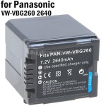 Battery VW-VBG260 for Panasonic HS9 H80 SX5 D9 SD7 Digital Camera
